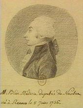Portrait, dessin au crayon noir montrant le profil de Blin avec un long nez et une perruque blanche; en bas, inscription manuscrite identifiant Blin avec sa qualité de médecin, de député, et sa date de naissance.