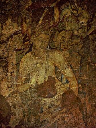 https://upload.wikimedia.org/wikipedia/commons/thumb/f/f7/Bodhisattva_Padmapani%2C_Ajanta%2C_cave_1%2C_India.jpg/335px-Bodhisattva_Padmapani%2C_Ajanta%2C_cave_1%2C_India.jpg