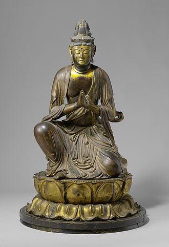 Añjali Mudrā - A Japanese statue of Bodhisattva Seishi, doing Añjali Mudrā.