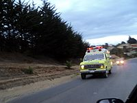 A Bomberos de Pichilemu truck patrolling the city, during the 2011 Tohoku earthquake and tsunami emergency, on March 11, 2011.