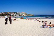 Bondi Beach in Sydney's east. Sydney's hot weather in summer makes its beaches very popular.