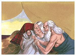 Vayeira - When Abraham was 100 years old, Sarah gave birth to a son. (1984 illustration by Jim Padgett, courtesy of Distant Shores Media/Sweet Publishing)