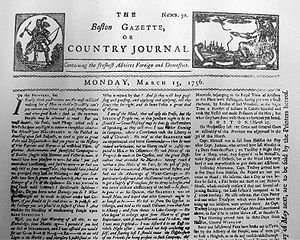 Boston Gazette - Image: Boston Gazette 1756