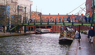 Brindleyplace - The BCN Main Line canal of the Birmingham Canal Navigations between the International Convention Centre (left) and Brindleyplace (right) in central Birmingham.