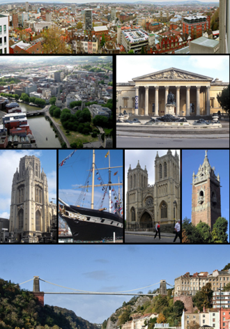 Bristol - Top to bottom, left to right: Panorama of Bristol, Bristol Avon, Victoria Rooms, Wills Memorial Building, SS ''Great Britain'', Bristol Cathedral, Cabot Tower and Clifton Suspension Bridge.