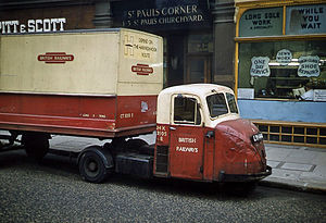 British Rail - A Scammell Scarab truck in British Railways livery, London, 1962. British Railways was involved in numerous related businesses including road haulage