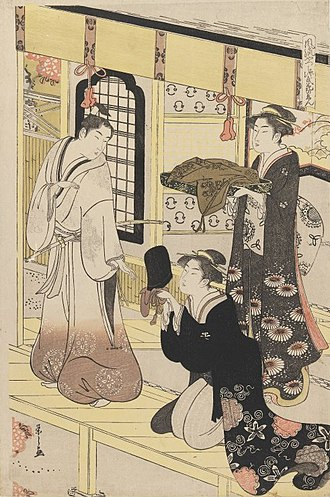 Eishi - Image: Brooklyn Museum 'Hana no En' from 'Eight Views of Disguised Genji (Furyu Yatsushi Genji)' Eishi Chobunsai