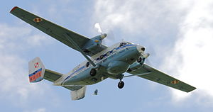 PZL M28 Skytruck - Strutted high-wing, twin vertical fins and tricycle landing gear