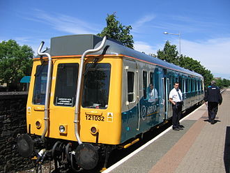 "Cardiff Bay railway station - The Class 121 single-unit ""bubble car"""