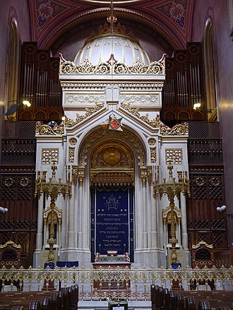 Torah ark of the Dohany Street Synagogue, built in 1854. Budapest Grosse Synagoge Innen Thoraschrein 2.JPG