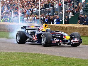 Goodwood Festival of Speed - Sébastien Buemi demonstrating a Red Bull RB1 Formula One car at the 2008 Goodwood Festival of Speed