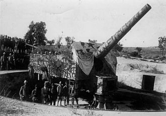 Gallipoli Campaign - Heavy artillery from the German inland gun emplacement 1915
