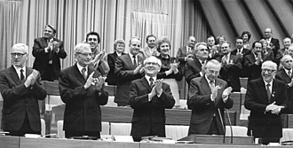 Mikhail Suslov - Suslov (standing second from left in front row) at the opening of the at the opening of the 9th Party Congress of East Germany's ruling Socialist Unity Party.