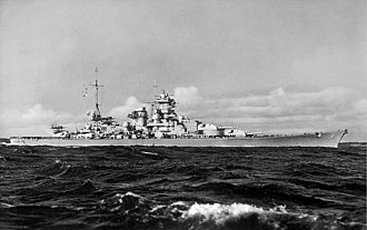 "Scharnhorst-class battleship - Scharnhorst after her ""Atlantic bow"" had been added"
