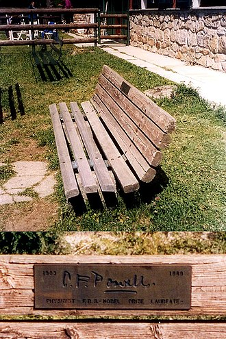 C. F. Powell - Memorial bench and plaque dedicated to Powell at the site of his death in the foothills of the Alps, Italy.