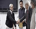 C.P. Joshi received the Report by Sunder Committee Set up to Review the Motor Vehicle Act, in New Delhi on February 02, 2011. The Minister of State for Road Transport and Highways, Shri Jitin Prasada is also seen.jpg