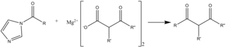 Carbonyldiimidazole - Malonic reaction scheme