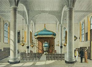 Gereja Sion - Lithograph of the interior of Zion Church