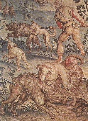 Wolf hunting - Tapestry depicting a Florentine wolf hunt (c. 14th century), Galleria degli Uffizi