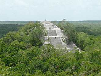 Campeche - View of one of the Maya pyramids at Calakmul
