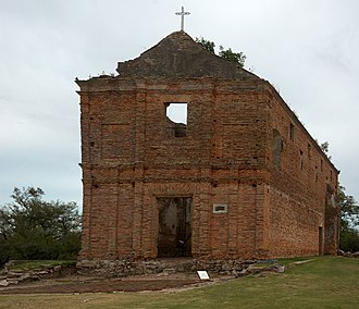 "Jesuit reduction - Church built by the Jesuits in the present territory of Uruguay, in the locality called ""Calera de las Huérfanas""."