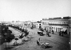 Avenida Rivadavia - Rivadavia Avenue, downtown Buenos Aires, c. 1880.
