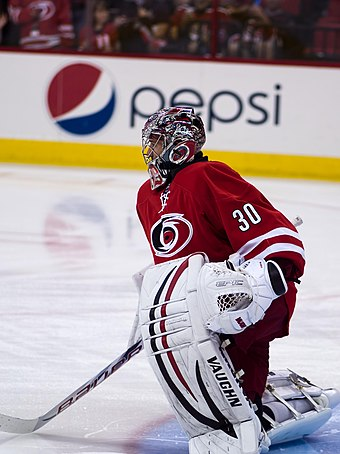 With 39 wins in the 2008-09 season, Cam Ward set the franchise record for most wins by a goaltender in a season. Cam Ward 2013.jpg