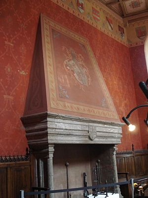 Saint-Pierre Castle - One of the castle's restored fireplaces.