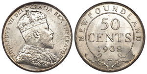 Newfoundland fifty cents - Image: Canada Newfoundland Edward VII 50 Cents 1908