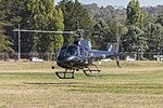 Canberra Helicopters (VH-LVM) Aérospatiale AS 350B2 operating joy flights at the 2018 Canberra Airport open day.jpg