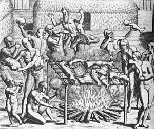 Woodcut showing 12 people holding various human body parts carousing around an open bonfire where human body parts, suspended on a sling, are cooking.