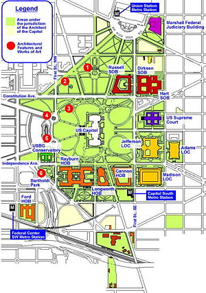 Dirksen Senate Office Building - Map of the Capitol complex, with the Dirksen Building in red in the upper right.