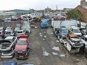 Vehicle recycling - Car scrapyard in Grimsby, UK