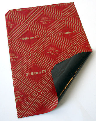 Carbon paper - A sheet of carbon paper, with the coating side down