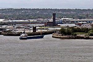 Alexandra Tower, Liverpool - Image: Cargo vessel Doris T. enters Birkenhead Docks (geograph 3146510)