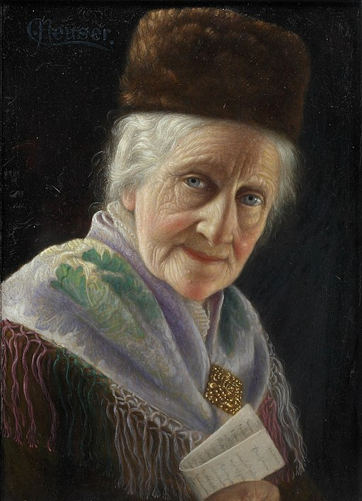 Carl Heuser Portrait of an old lady with fur hat