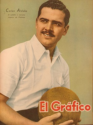 "Carlos Aldabe - ""Notable and correct defender"" Aldabe on the cover of El Gráfico in July 1942"
