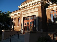 Old Carnegie Library, downtown Thief River Falls, Minnesota.