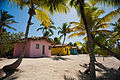 Catalina Island, La Romana, Dominican Republic. A line of bright painted bungalows nearby the cost line, shaded with palm trees (landscape).jpg