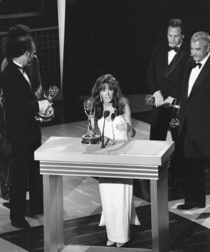 Cathy Guisewite - Cathy Guisewite in 1987, accepting her Emmy Award