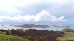 Cavalli Islands - The Cavallis. The knobby hill to the right on the mainland is at the northern extremity of Matauri Bay.