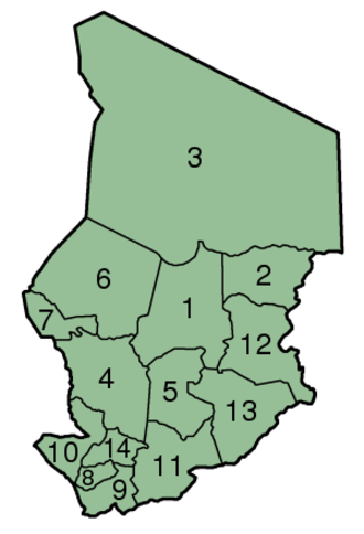 Administrative divisions of Chad - Image: Chad Prefectures numbered 300px