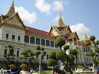 Tourism in Bangkok - Chakri Maha Prasat Throne Hall, a 19th-century European-style building with a traditional Thai roof, is in the Grand Palace compound.