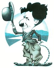 A caricature of film comedian Charlie Chaplin.