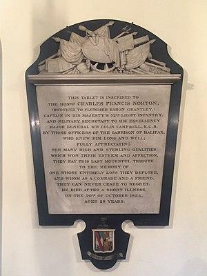 Charles Francis Norton - Charles Francis Norton, St. Paul's Church (Halifax), Nova Scotia