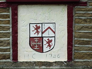 Humphrey Chetham - The arms of the Chetham family as displayed above the door of the Chetham Arms pub in Chapeltown, Lancashire.