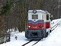 Children's railway, Budapest engine at Hűvösvölgy station.jpg