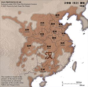 Han dynasty - Provinces controlled by Han dynasty in 190 AD