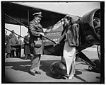 Chinese Aviatrix receives gift of new plane from Col. Roscoe Turner. Washington, D.C., April 3. Col. Roscoe Turner, winner of speed trophies in the air, dropped down to Washington Airport LCCN2016875367.jpg
