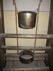 A reproduction of a Chinese water torture  apparatus at Berlin-Hohenschönhausen Memorial